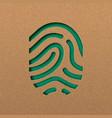 human fingerprint in green papercut style vector image vector image