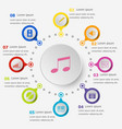 infographic template with music icons vector image vector image