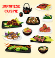 japanese fish and meat dishes with salads and soup vector image vector image