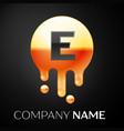letter e splash logo golden dots and bubbles vector image