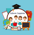 little kids with school supplies vector image