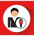 man smartphone news microphone design vector image vector image
