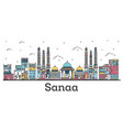 outline sanaa yemen city skyline with color vector image vector image