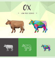 ox buffalo chinese zodiac animals low poly pop vector image