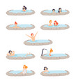 people enjoying outdoor jacuzzi set men and women vector image vector image