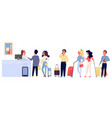 people staying and waiting in long queue vector image vector image