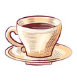 porcelain cup coffee on saucer isolated sketch vector image vector image