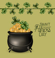 poster saint patricks day with cauldron full of vector image