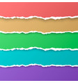 set color rainbow torn paper stripes paper vector image vector image