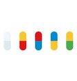 set colored medicinal capsules icon flat vector image vector image