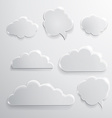 set glass speech bubbles clouds and icons vector image vector image