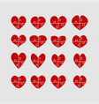 set red pieces puzzle of romantic hearts vector image vector image