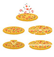 set tasty pizza pizza sliced vector image