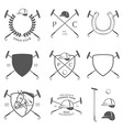 set vintage horse polo labels and badges vector image vector image