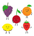 set with cartoon fruits vector image