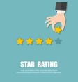 star rating hand giving five star rating vector image