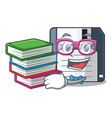 student with book floppy disk in the writing vector image vector image