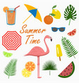 summer icons set - flamingo design cards poster vector image
