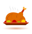 thanksgiving christmas color turkey icon vector image vector image