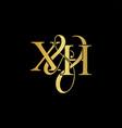 xh x h logo initial mark vector image