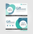 green circle gift voucher template with colorful vector image