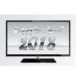 2018 silver chrome numbers design ont tv screen vector image vector image