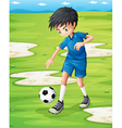 A boy sweating while playing football vector image vector image