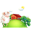 A sheep holding an empty paper in front of a barn vector image vector image