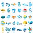 big collection logos sea vector image