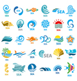 Big collection of logos sea vector image
