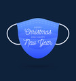 blue medical face mask with text merry christmas vector image vector image