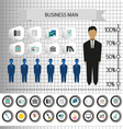 Business infographic with icons persons pencil and vector image
