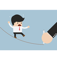 Businessman walking on rope and Hand with pen draw vector image vector image