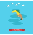 Capoeira fighter shows his skills flat design vector image vector image