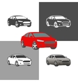 car sedan vehicle silhouette icons colored and vector image vector image