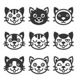 cat cartoon face icon set vector image