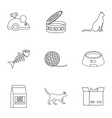 cat house icons set outline style vector image vector image