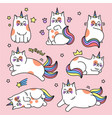 cat unicorn set vector image vector image
