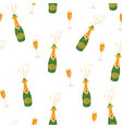 champagne bottle and glass seamless pattern vector image vector image