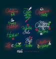 christmas pen line lettering color vector image vector image