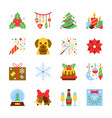 cristmas and new year colorful icon set vector image vector image