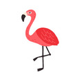 cute funny flamingo standing on one leg tropical vector image vector image