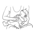 Drawing of father feeding baby with milk in bottle vector image