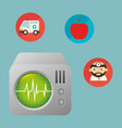 ekg machine with medical healthcare icons vector image