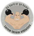 Emblem with strongman holding kettlebells vector image vector image