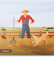 farmer at paddock flat composition vector image