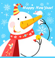 festive greeting card with a big snowman and a vector image