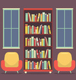 Flat Design Reading Seats and Bookcase vector image