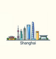 flat line shanghai banner vector image vector image
