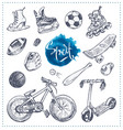 hand drawn icons of sport equipment sketch vector image